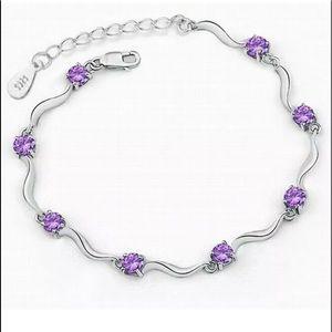 "NIB•Sterling Silver 925 & amethyst bracelet 7-9"""